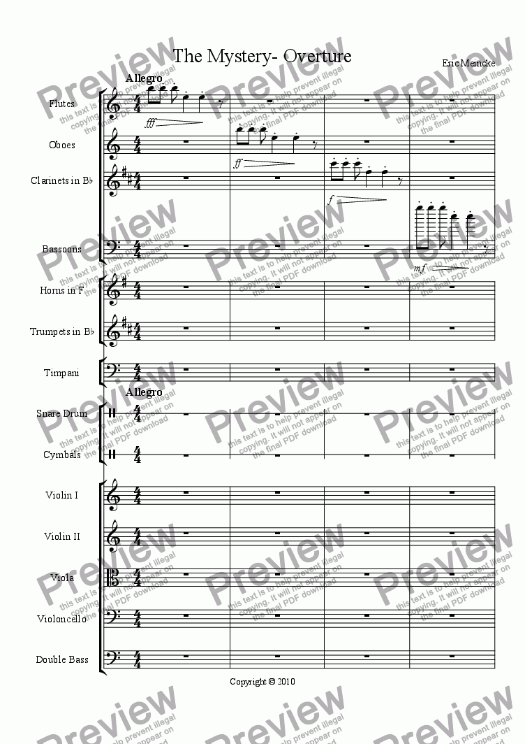 page one of The Mystery- Overture