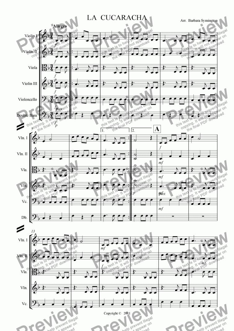 la cucaracha - download sheet music pdf file  score exchange