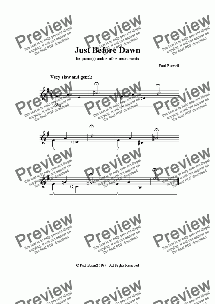 page one of Just Before Dawn, for piano(s) and/or other instruments