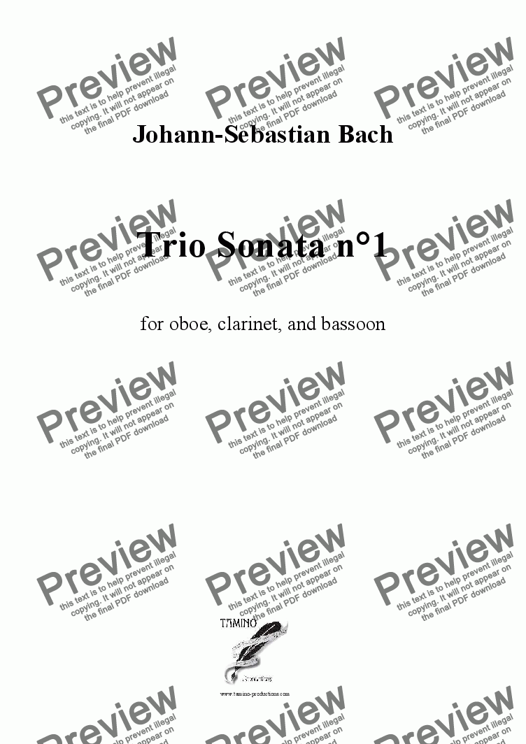 page one of Bach: Sonata n°1 in Eb BWV 526 for oboe, clarinet, and bassoon