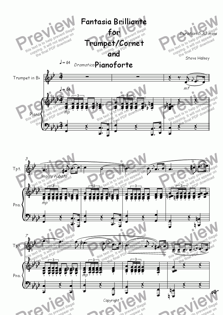 page one of Fantasia Brilliante for Trumpet/Cornet and PianoASALTTEXT