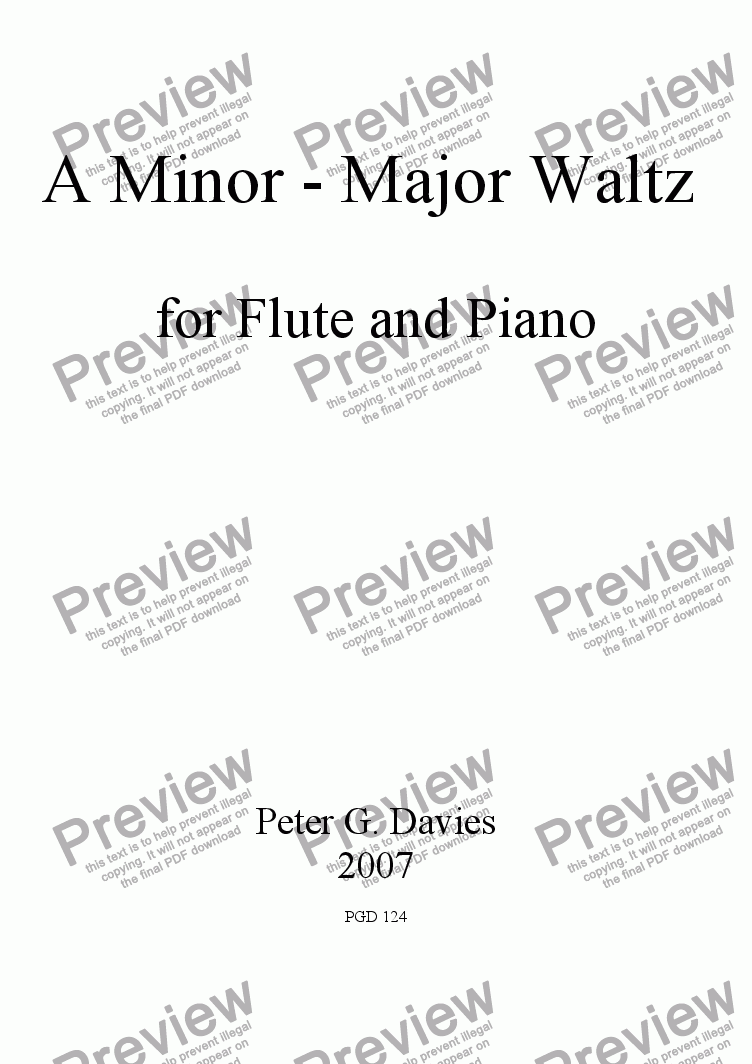 page one of A Minor - Major Waltz for Flute and Piano