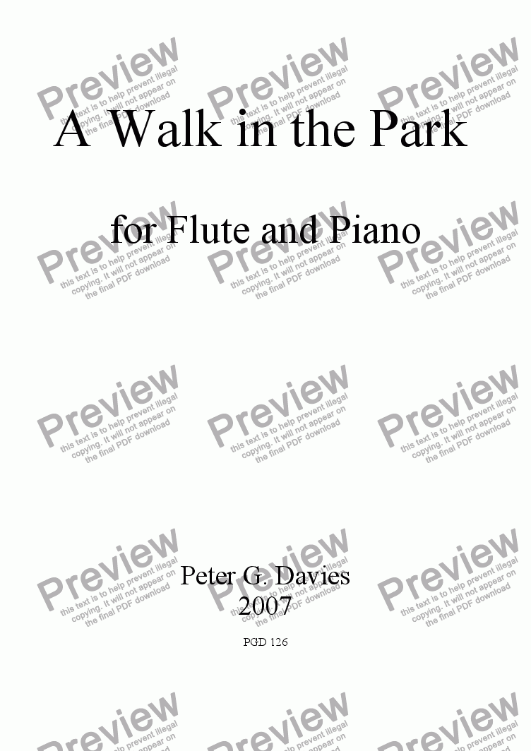 page one of A Walk in the Park for Flute and Piano