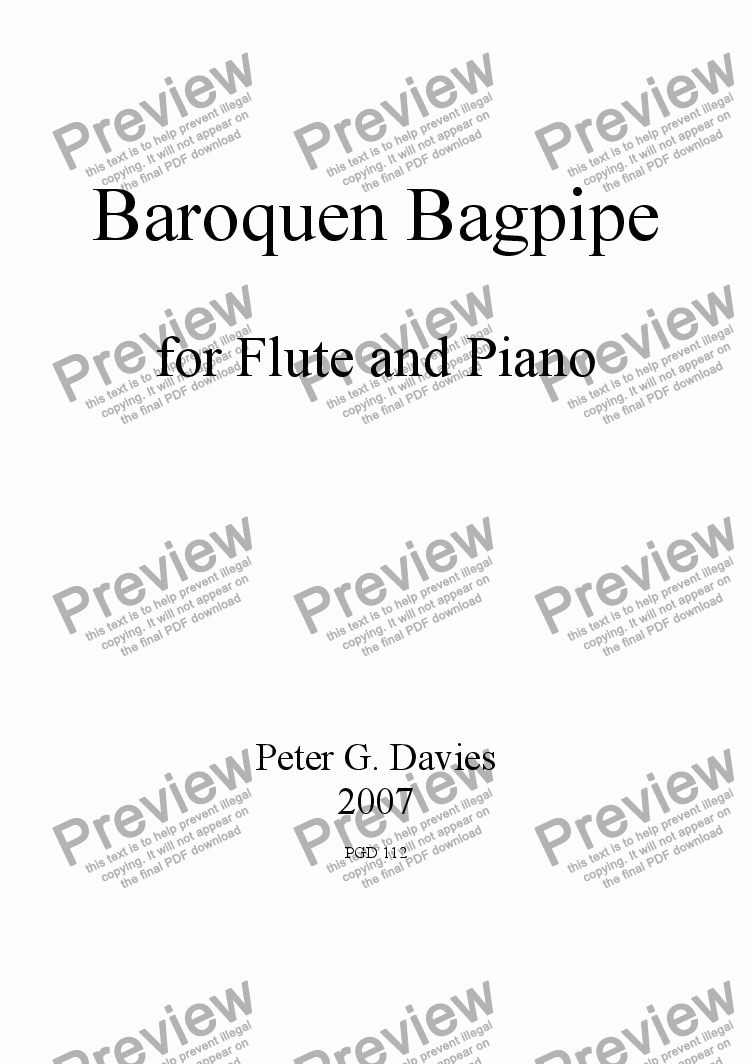 page one of Baroquen Bagpipe for Flute and Piano