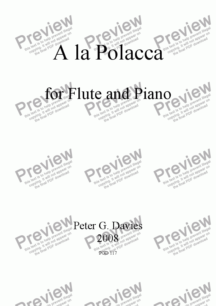 page one of A la Polacca for Flute and Piano