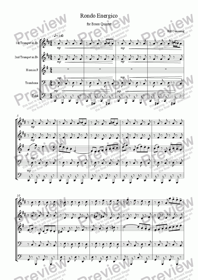 page one of Rondo Energico for Brass Quintet