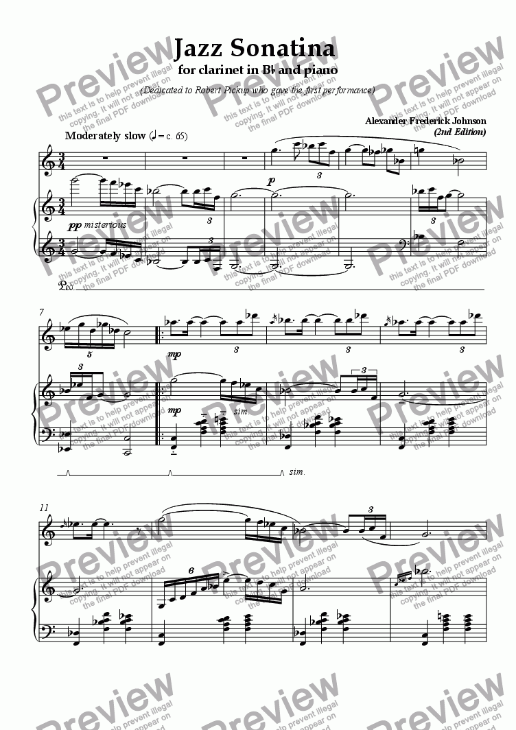 page one of Jazz Sonatina for Clarinet in Bb and PianoASALTTEXT