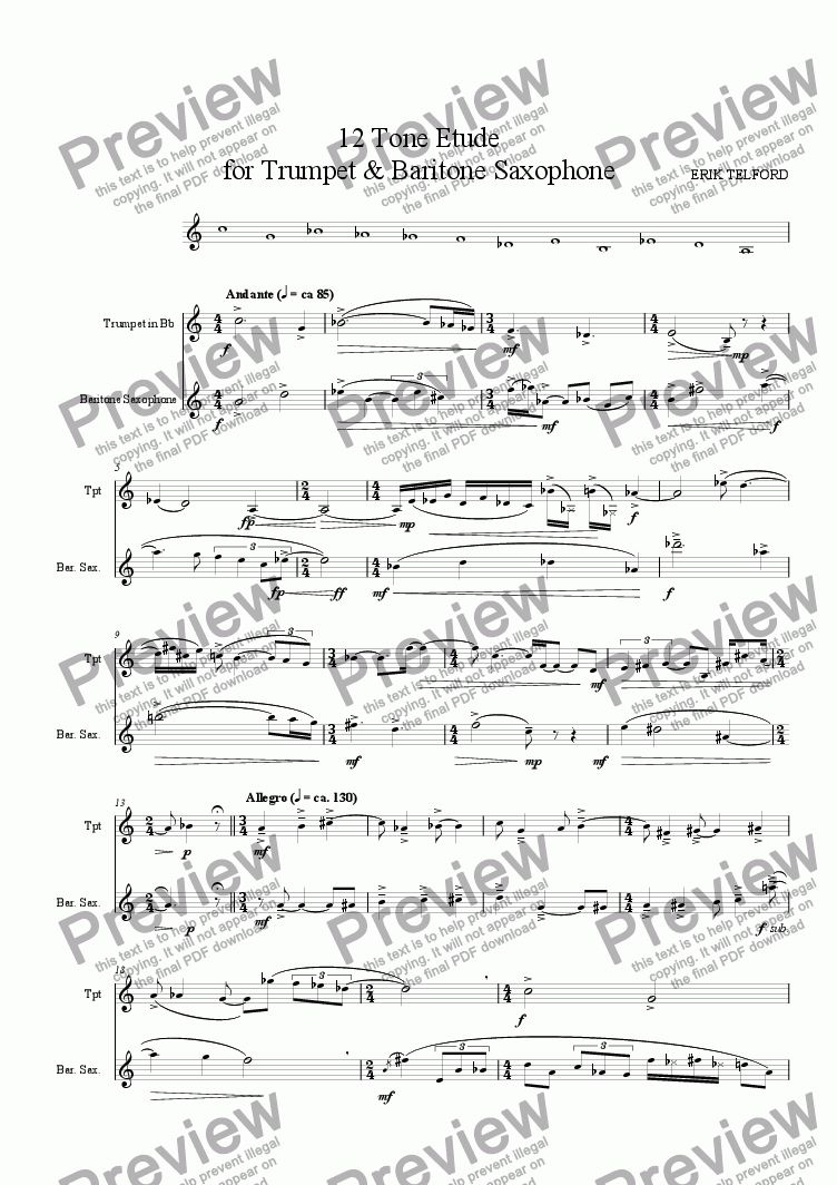 page one of 12 Tone Etude, for Trumpet and Baritone Saxophone