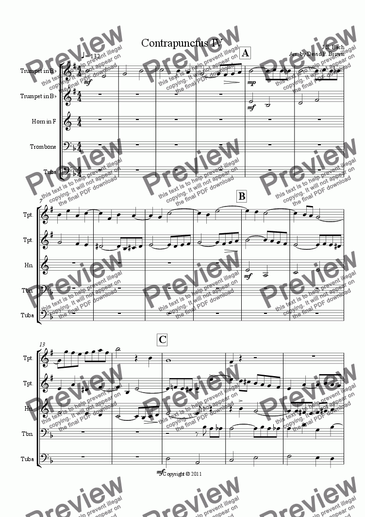 page one of Contrapunctus IV from the Art of Fugue
