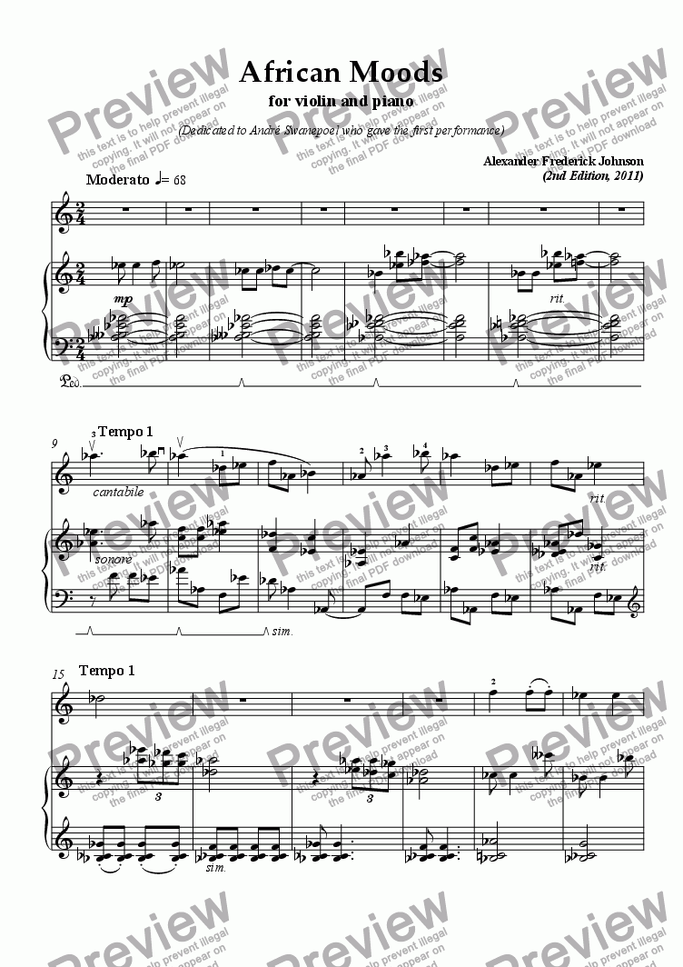 page one of African Moods for Violin and Piano