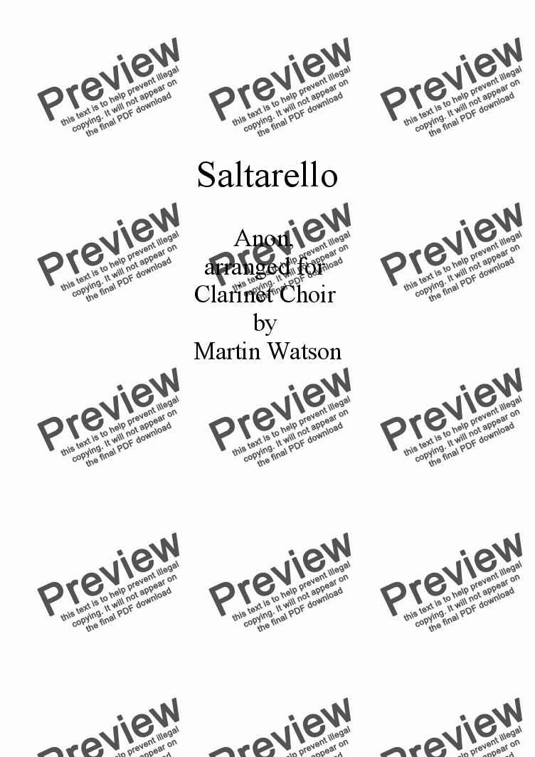 page one of Saltarello for Clarinet Choir