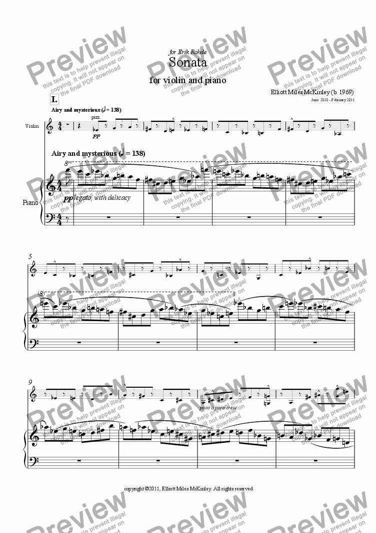 page one of Sonata for Violin and Piano