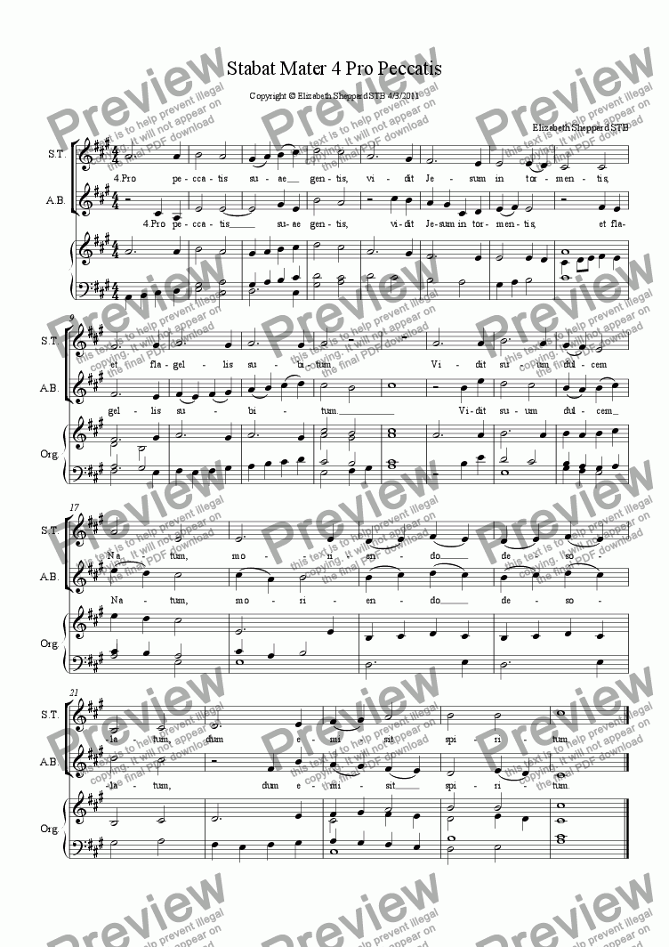 page one of Stations of the Cross. Stabat Mater (SATB) Verse 4: Pro peccatis