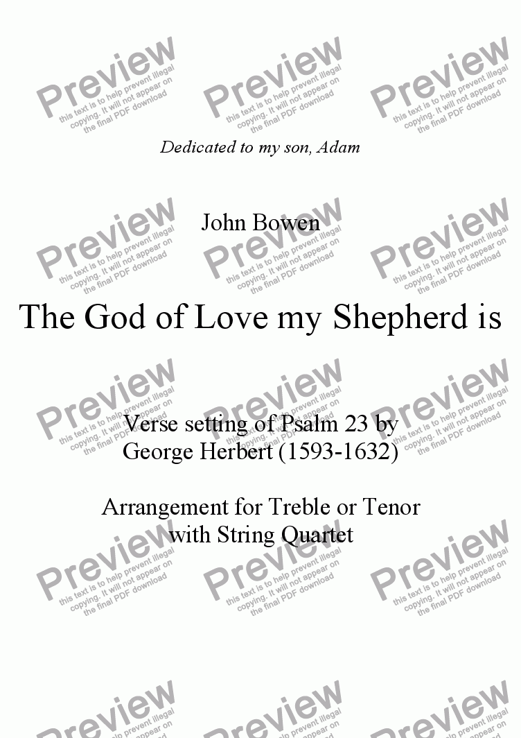 page one of The God of Love my Shepherd is - Psalm 23  Version with String Quartet