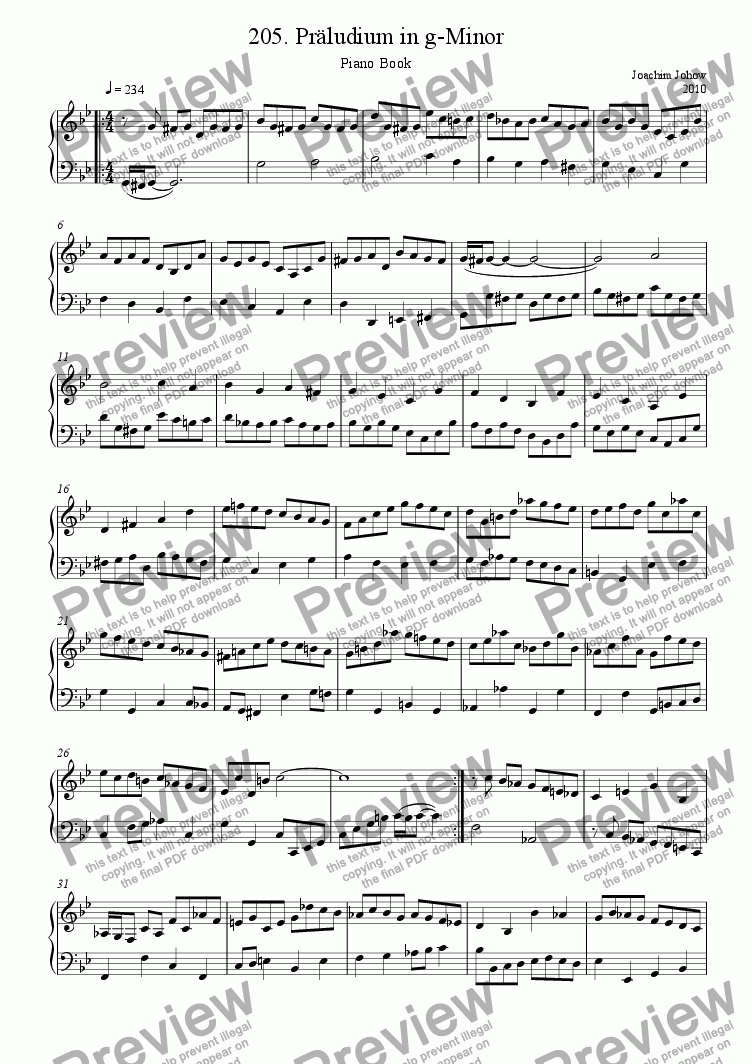 page one of Piano Book 205  Präludium in g-Minor