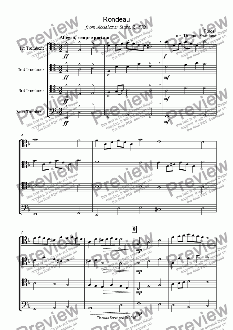 page one of Rondeau, from the Abdelazer Suite