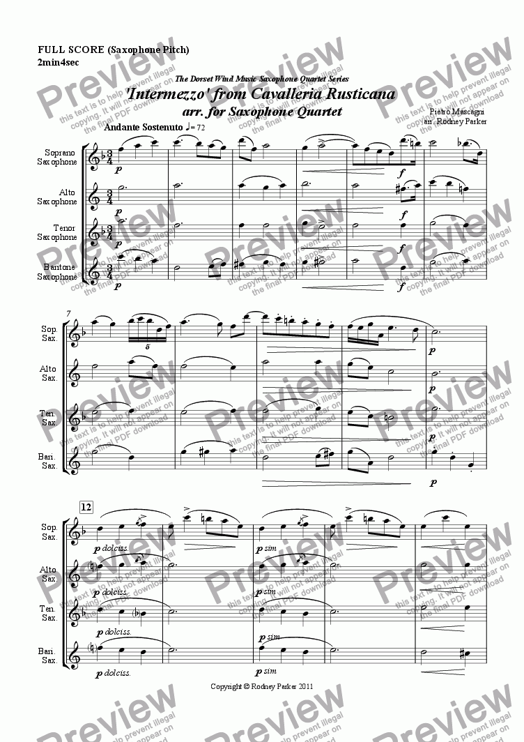page one of 'Intermezzo' from Cavalleria Rusticana arr. for Saxophone Quartet