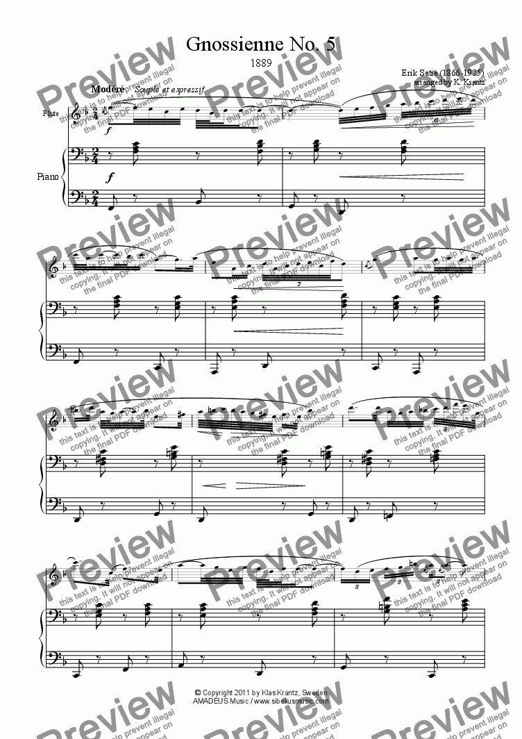 page one of Gnossienne No. 5 for flute and piano