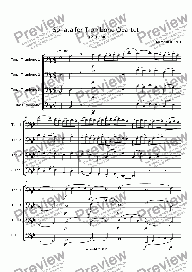 page one of Sonata for Trombone QuartetASALTTEXT