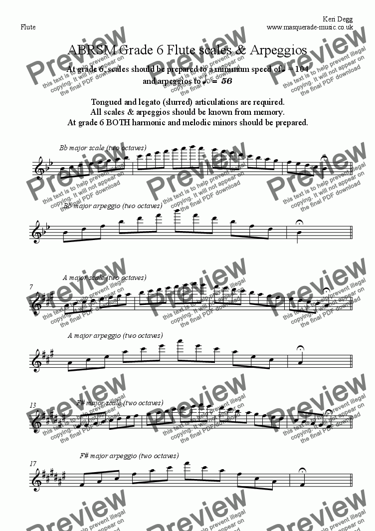 page one of Grade 6 Flute scales ABRSMASALTTEXT