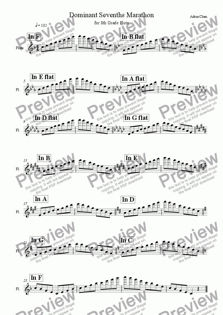 page one of Dominant Sevenths Marathon for 8th Grade Flute