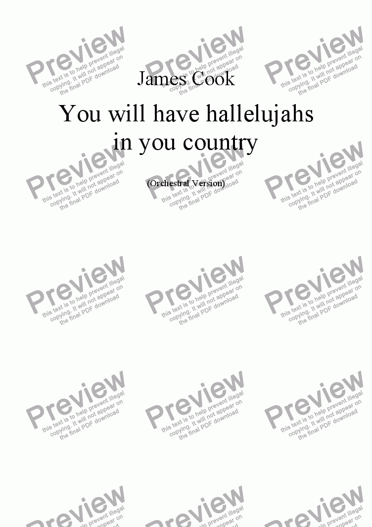 page one of You will have hallelujahs in your country