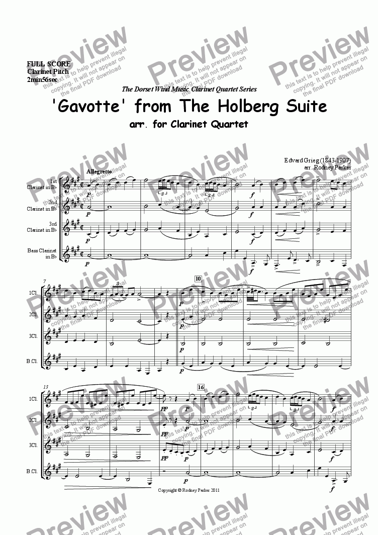 page one of 'Gavotte' from The Holberg Suite arr. for Clarinet Quartet
