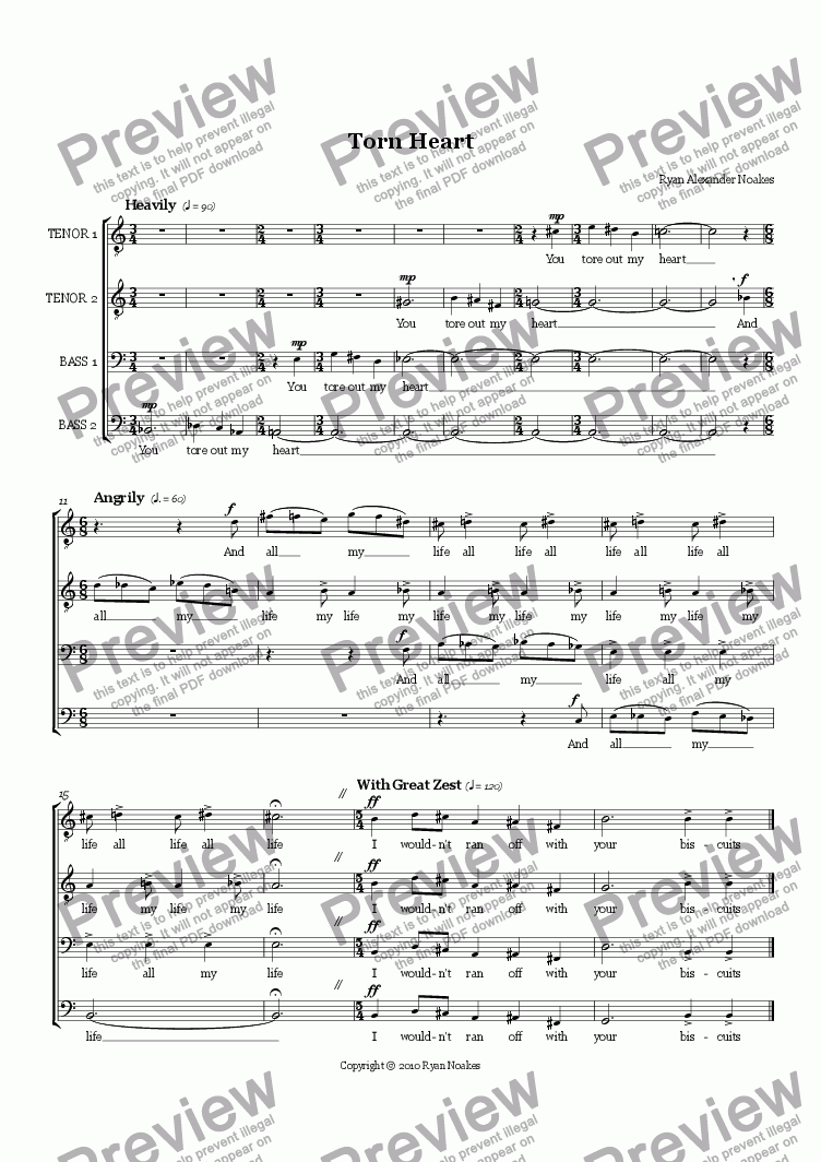 page one of Torn Heart