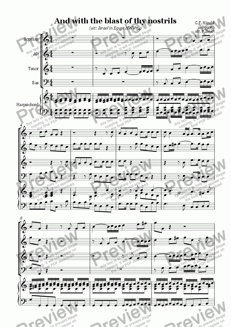 page one of And with the blast of thy nostrils (Händel)