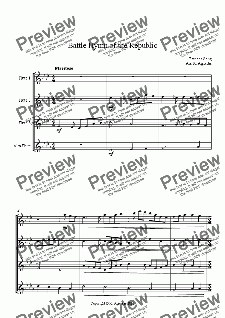 page one of Battle Hymn of the Republic - for Flute Quartet