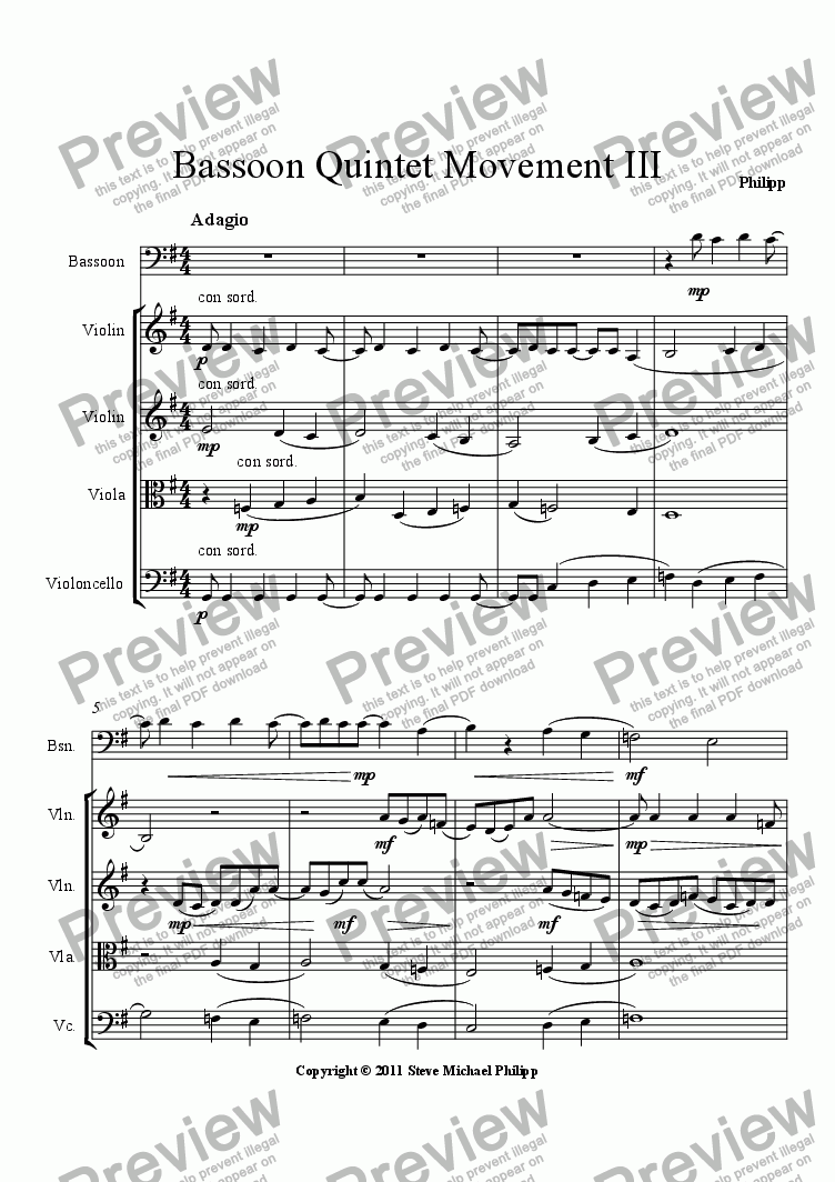 page one of Bassoon Quintet Movement IIIASALTTEXT