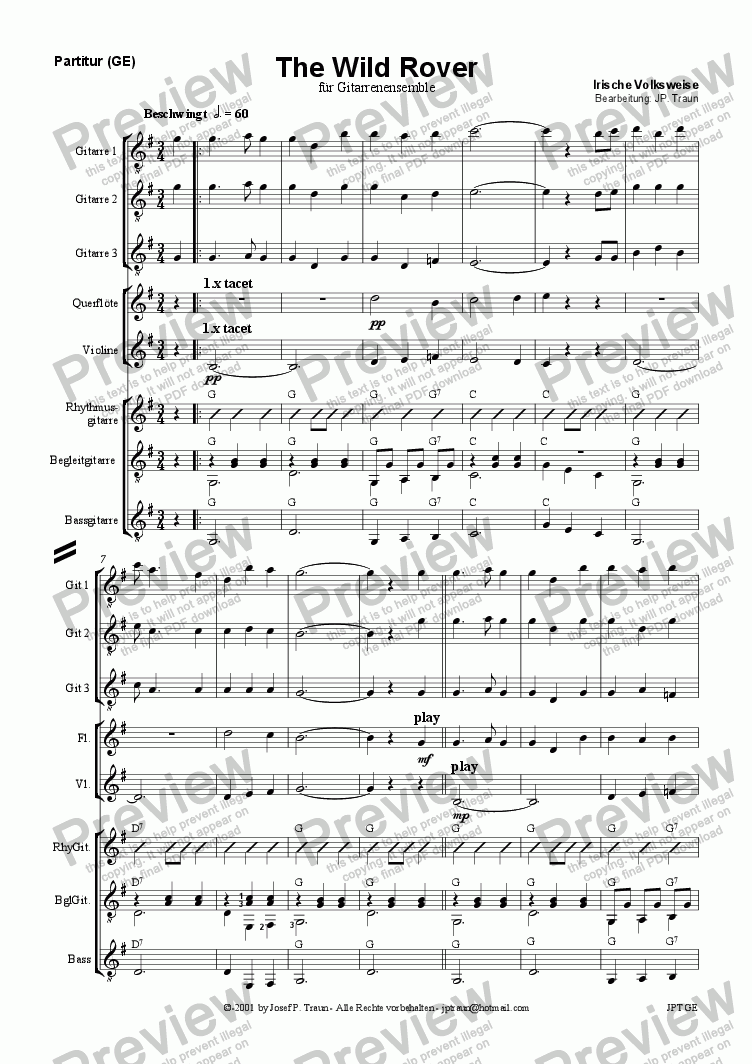 page one of The Wild Rover (GE/Score & Parts)