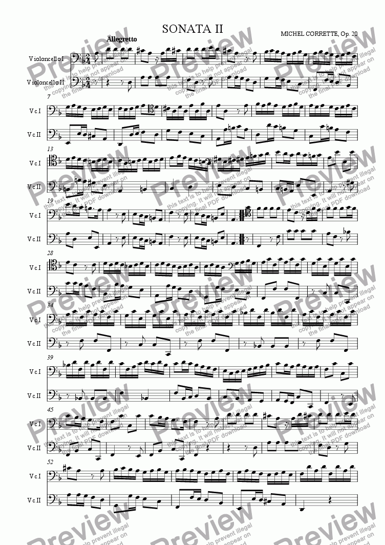 page one of Sonata op 20, n 2 (Les delices de la solitude)