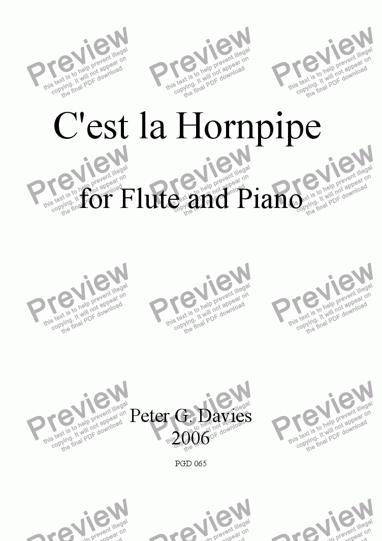page one of C'est la Hornpipe for Flute and Piano