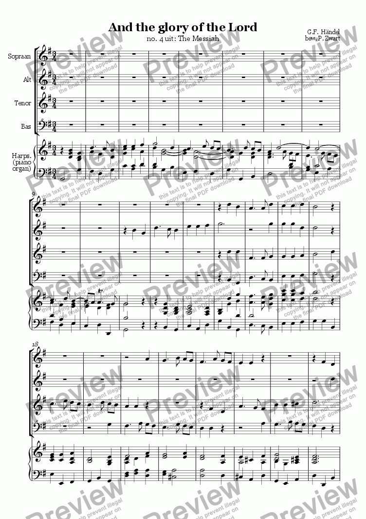 page one of And the glory of the Lord (Händel)ASALTTEXT