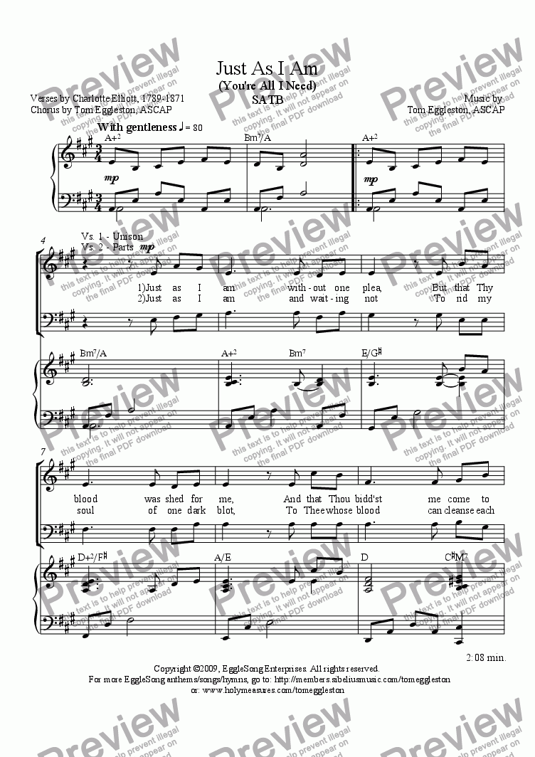 page one of Just As I Am, SATB
