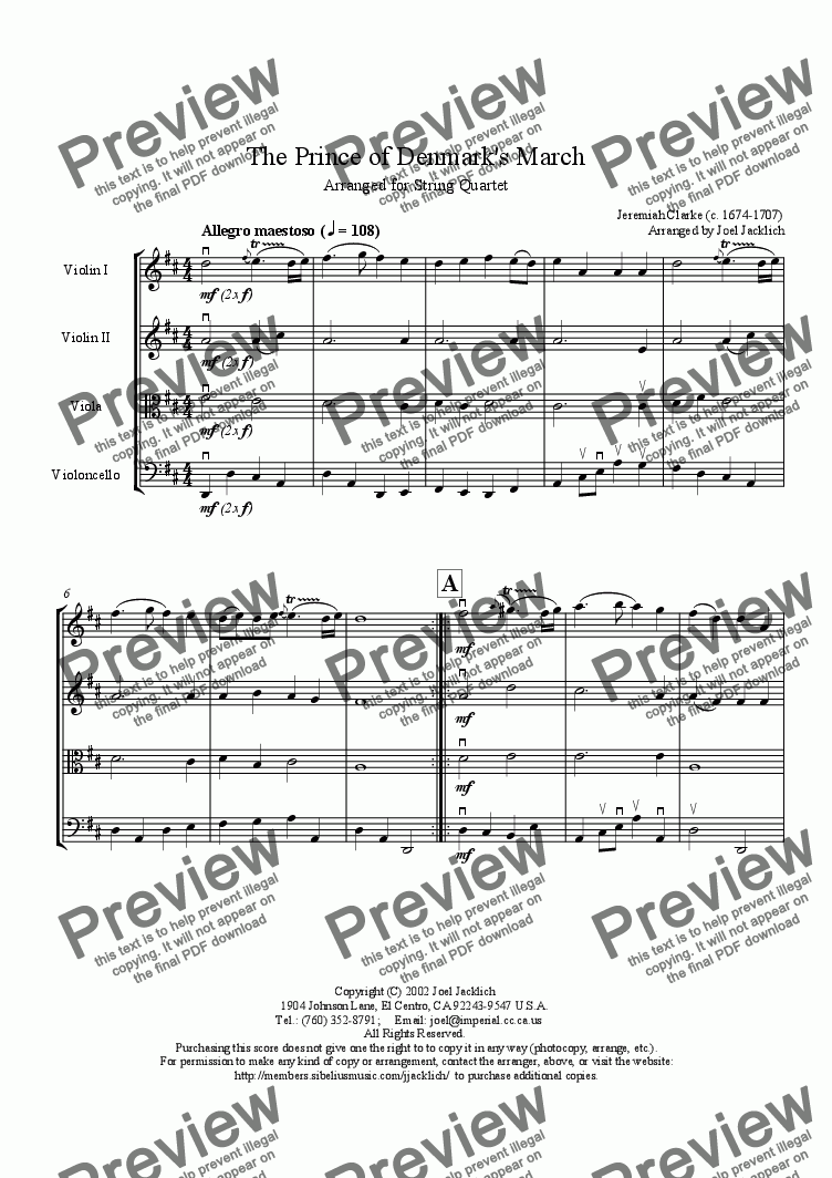 The Prince of Denmark's March (Original Key D) for String quartet by  Jeremiah Clarke - Sheet Music PDF file to download
