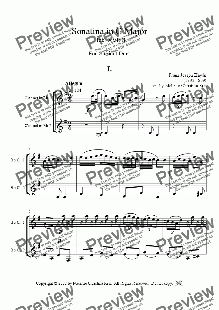 page one of Sonatina in G Major (clarinet duet)