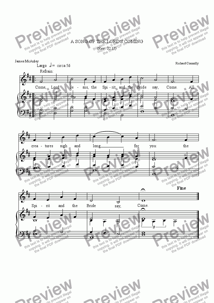 page one of A Song of the Lord's Coming