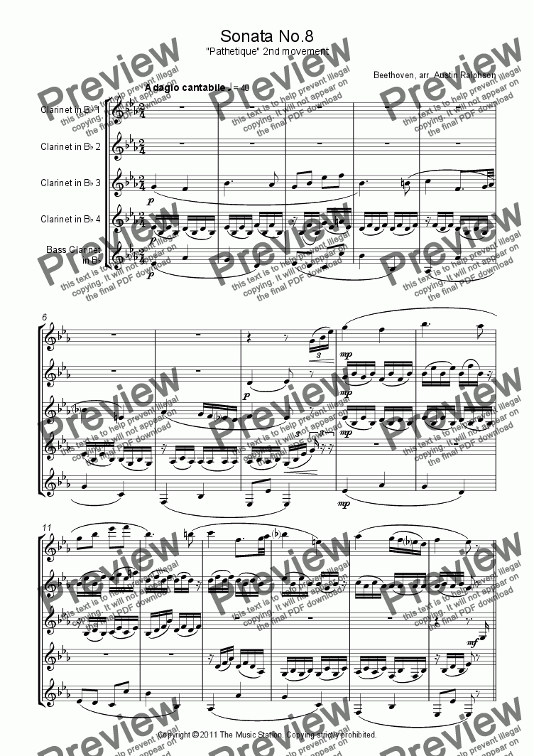 "page one of Sonata No.8 ""Pathetique"", 2nd movement - clarinet quintet"