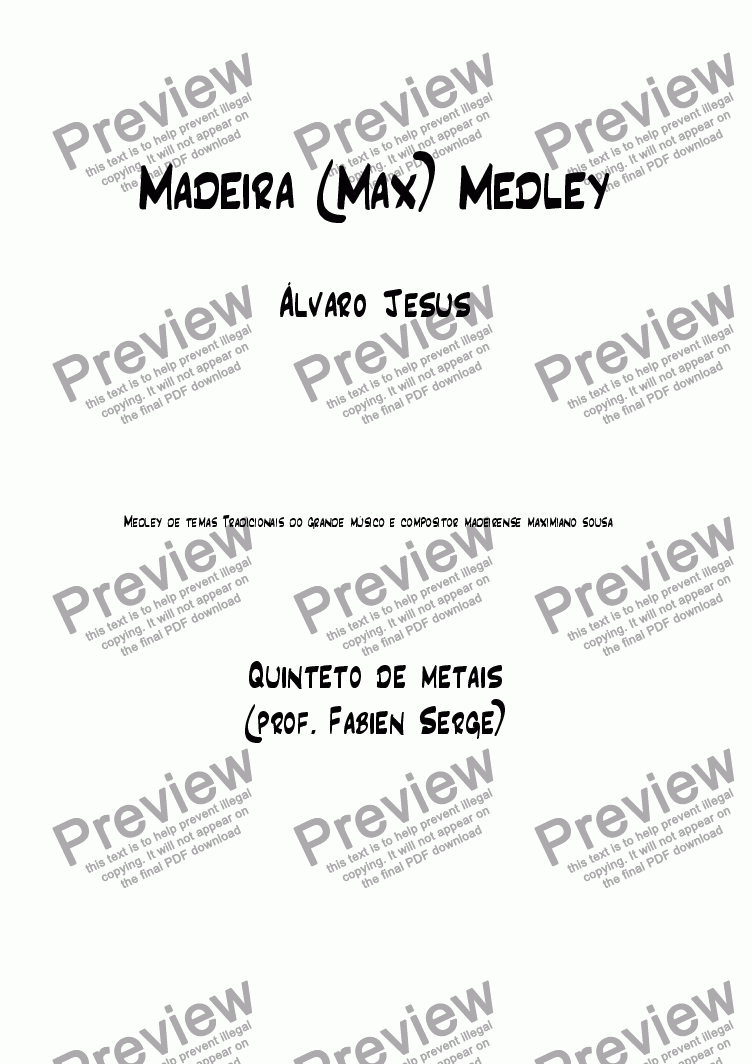 page one of Madeira Medley (Brass Quintet)