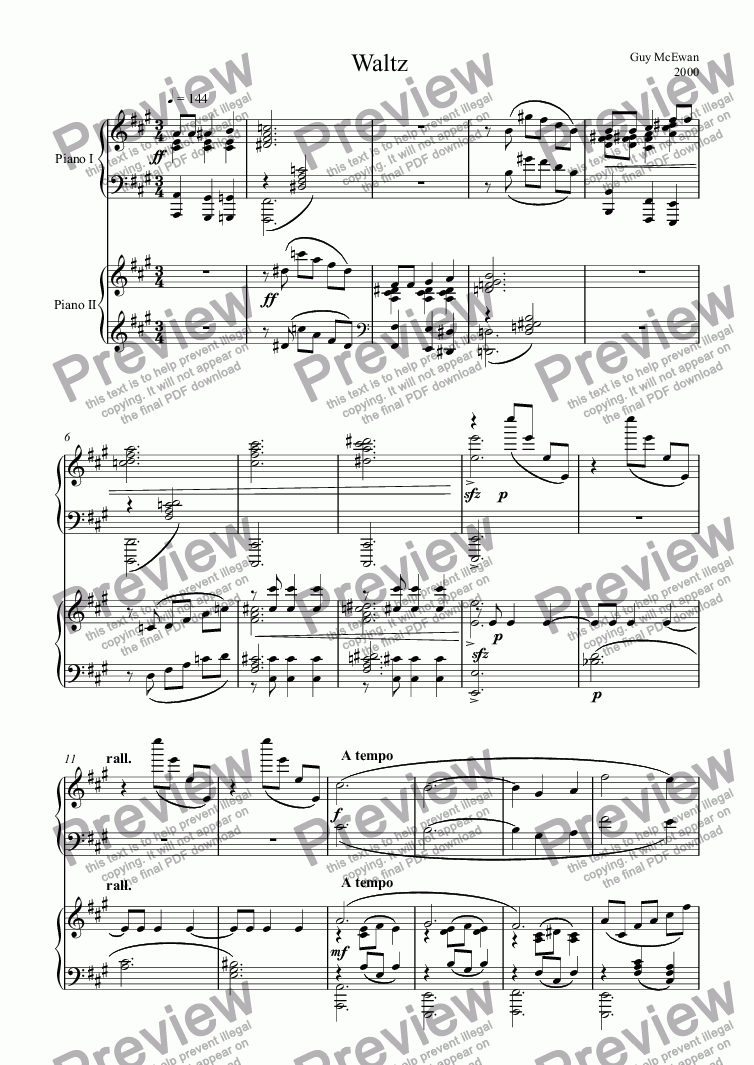 page one of Waltz for Two Pianos