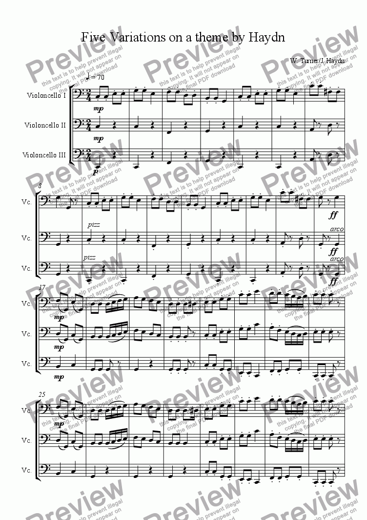 page one of Five Variations on a Theme by Haydn
