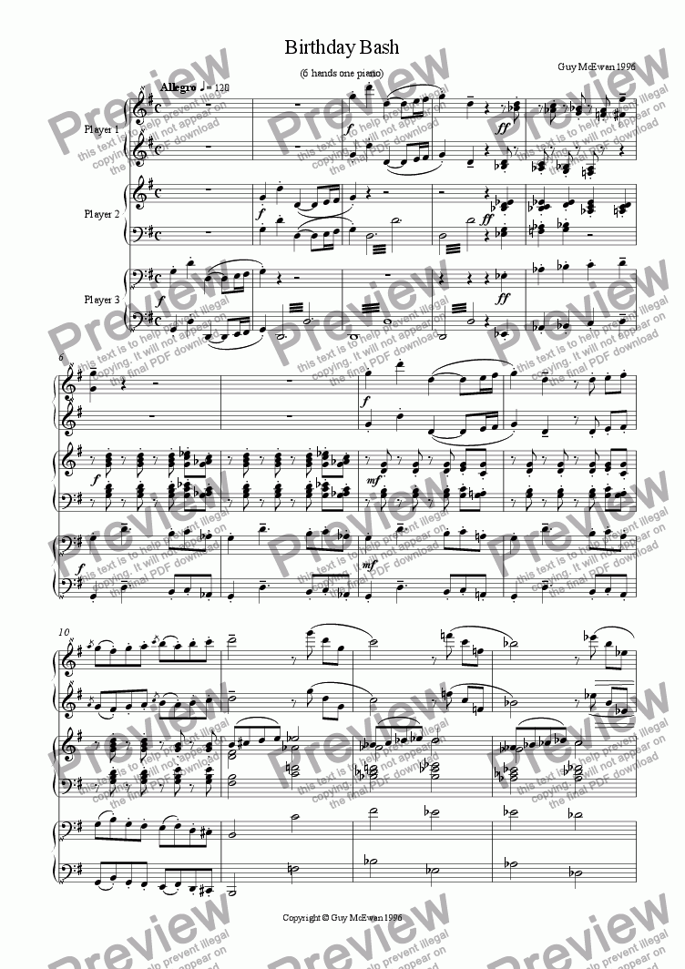 page one of Birthday Bash for piano 6 hands