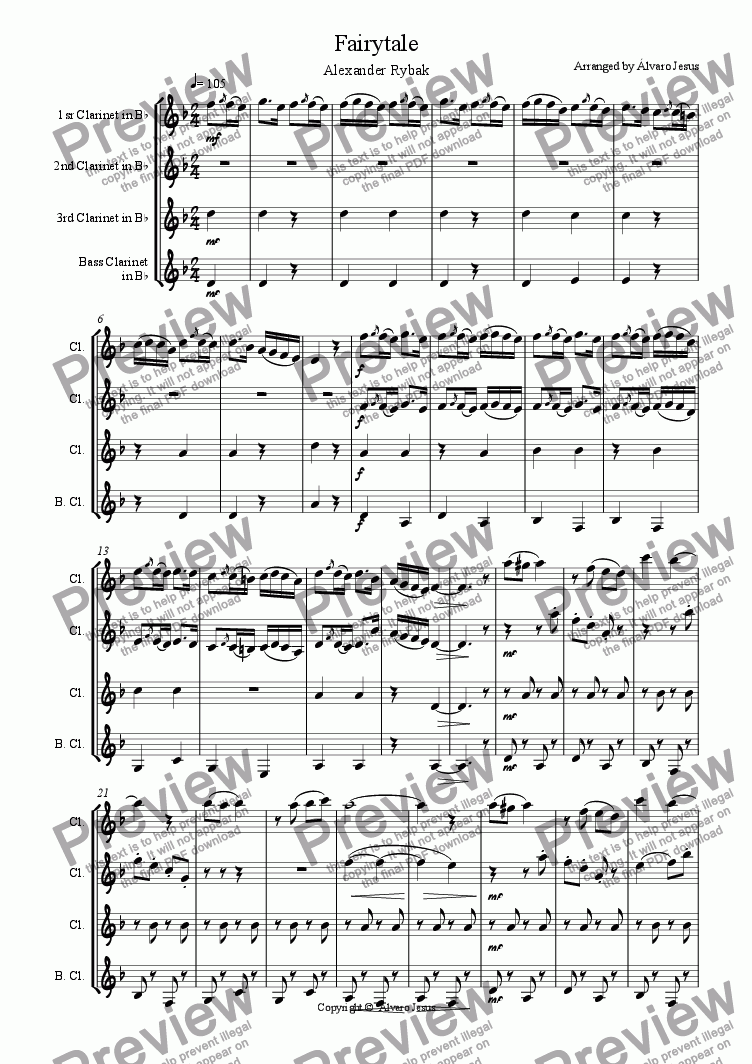 page one of Fairytale (Clarinet Quartet)