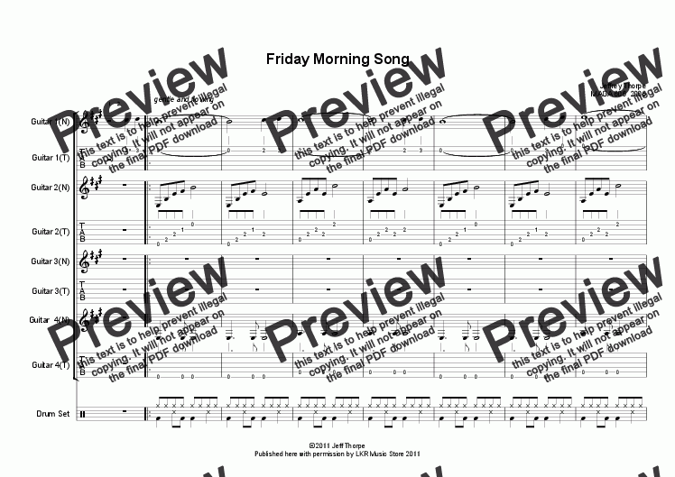 page one of Friday Morning Song