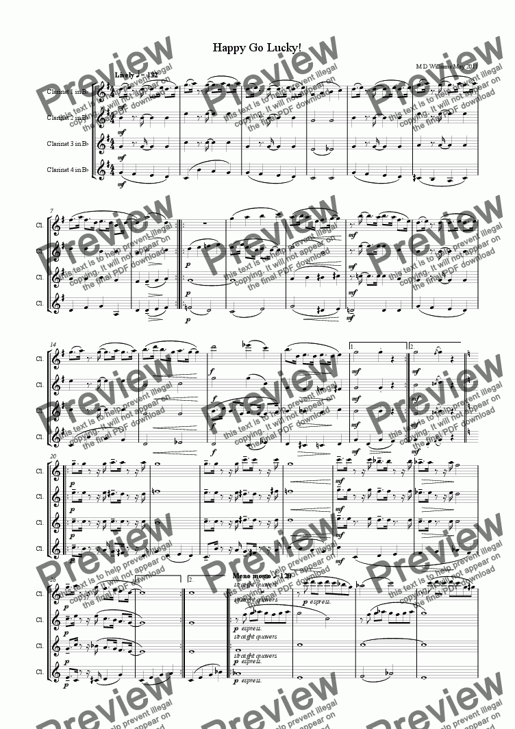 page one of Clarinet Quartet:Happy Go Lucky