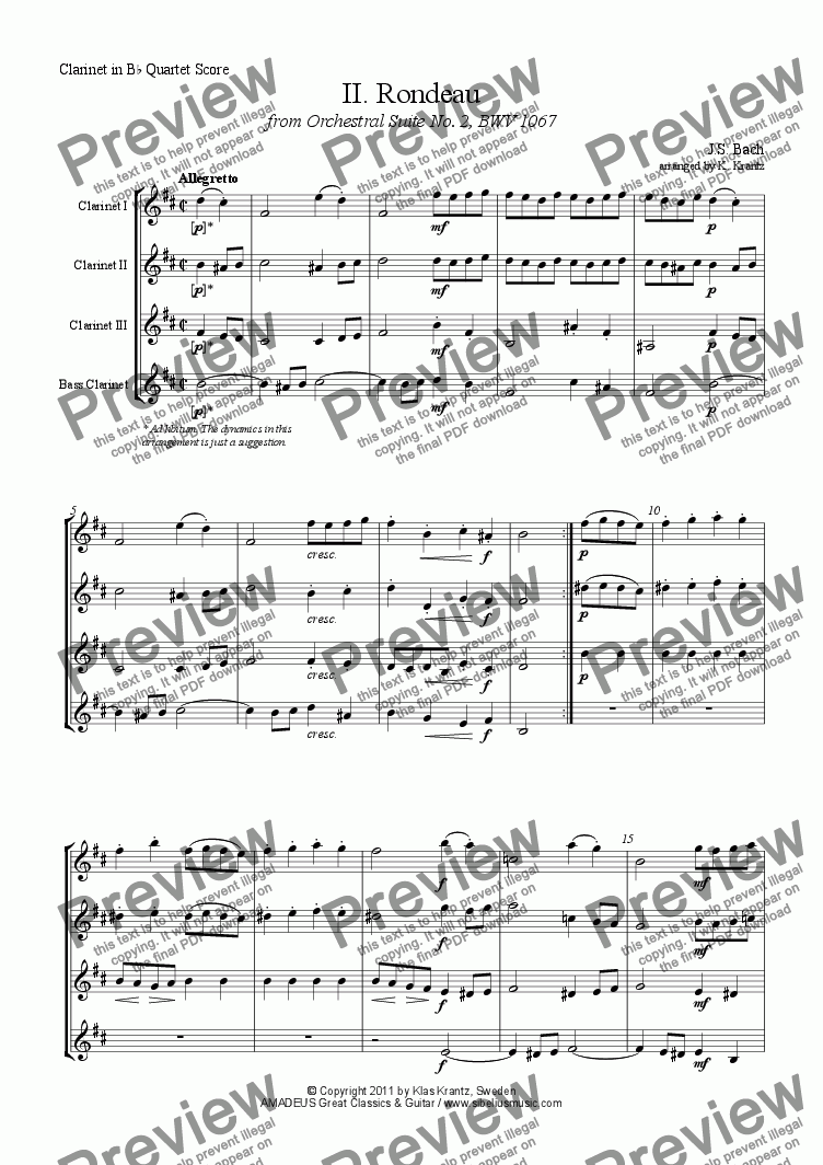 page one of Rondeau from Orchestral Suite No. 2, BWV 1067 for clarinet quartet