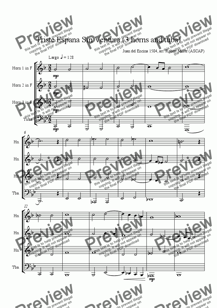 page one of Triste España Sin Ventura (3 horns and tuba)