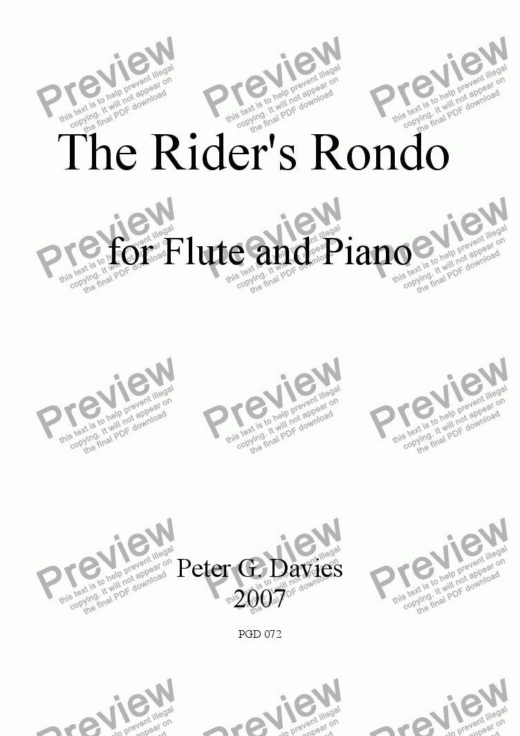 page one of The Rider's Rondo for Flute and Piano